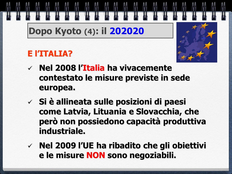 Dopo Kyoto (4): il 202020 E l'ITALIA