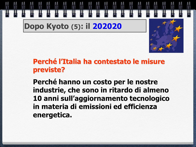 Dopo Kyoto (5): il 202020 Perché l'Italia ha contestato le misure previste