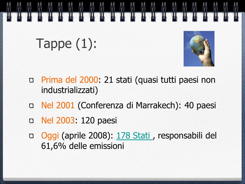 Tappe (1): Prima del 2000: 21 stati (quasi tutti paesi non industrializzati) Nel 2001 (Conferenza di Marrakech): 40 paesi.