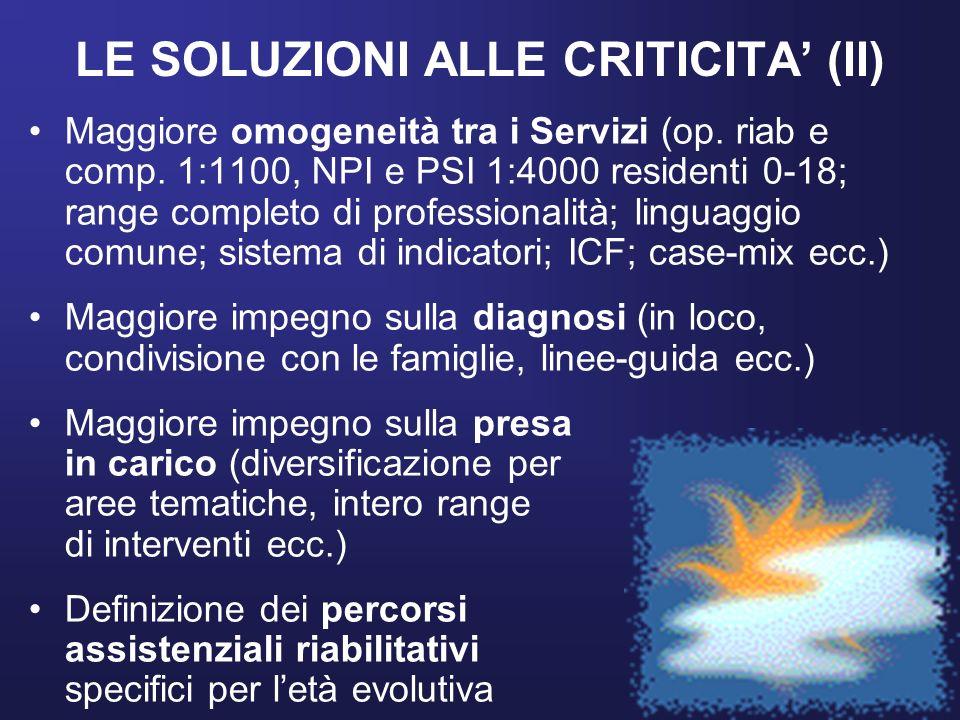 LE SOLUZIONI ALLE CRITICITA' (II)
