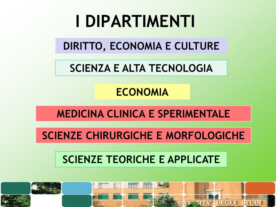 I DIPARTIMENTI DIRITTO, ECONOMIA E CULTURE SCIENZA E ALTA TECNOLOGIA