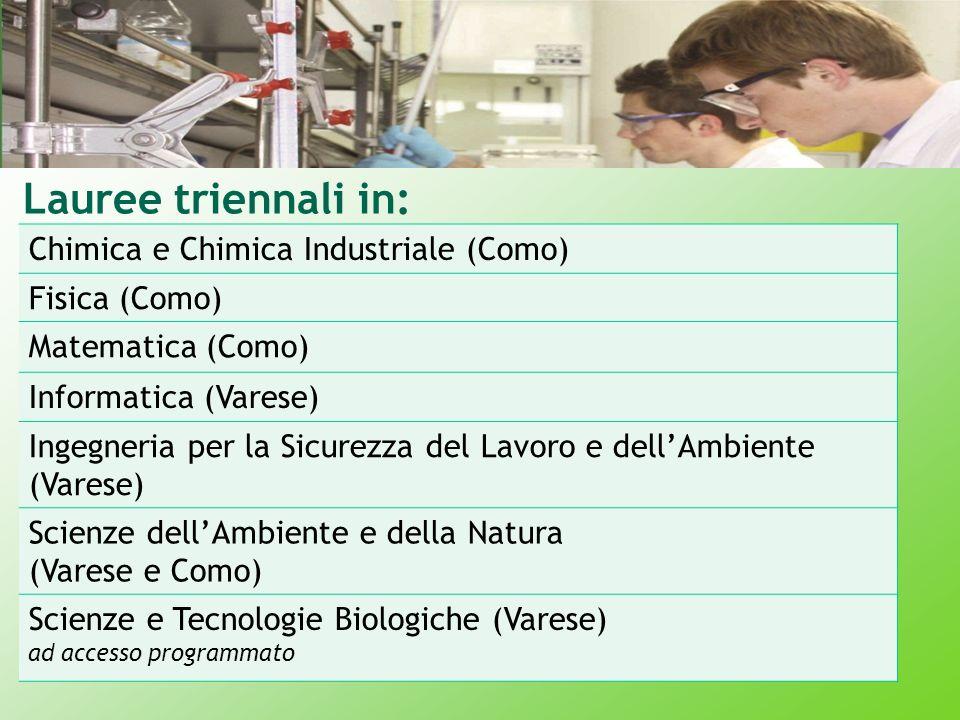 Lauree triennali in: Chimica e Chimica Industriale (Como)