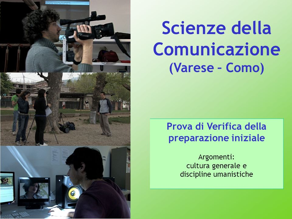 Scienze della Comunicazione (Varese – Como) Prova di Verifica della