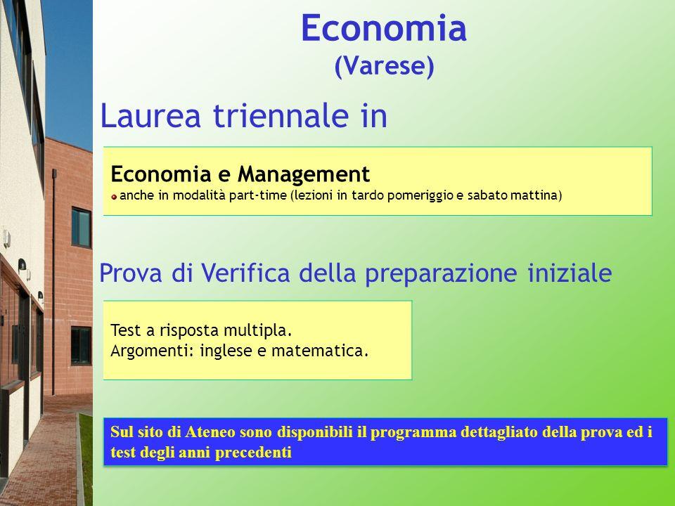 Economia (Varese) Laurea triennale in