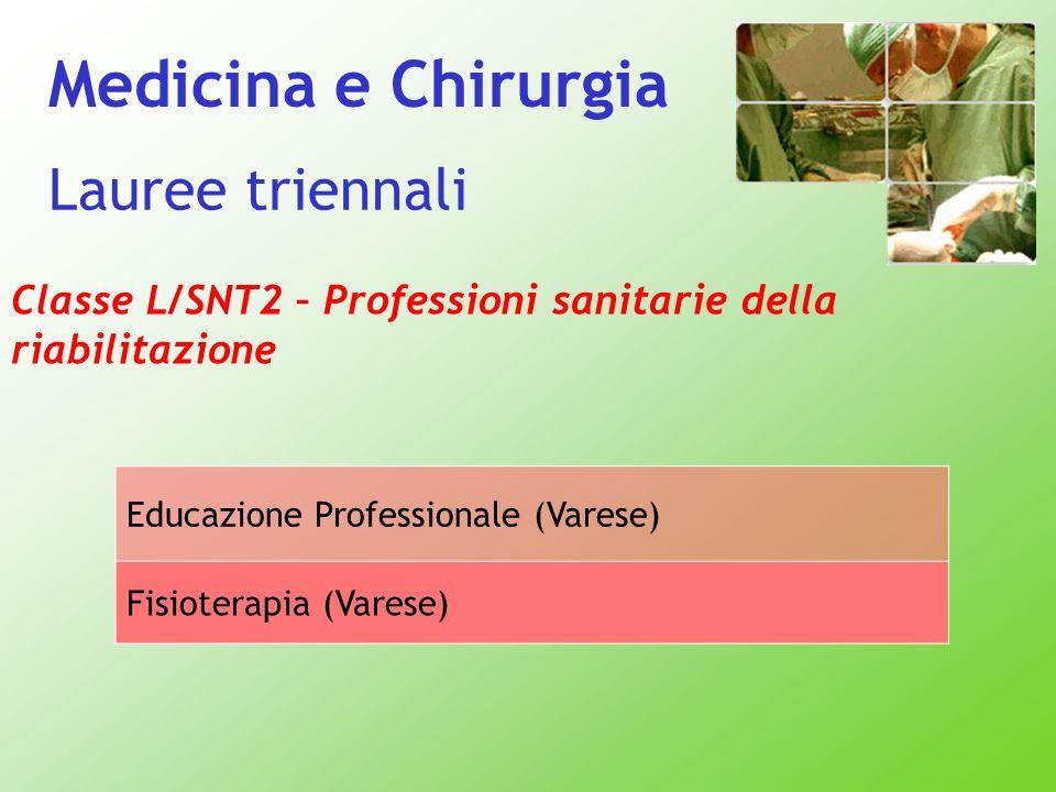 Medicina e Chirurgia Lauree triennali