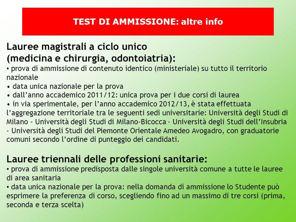 TEST DI AMMISSIONE: altre info