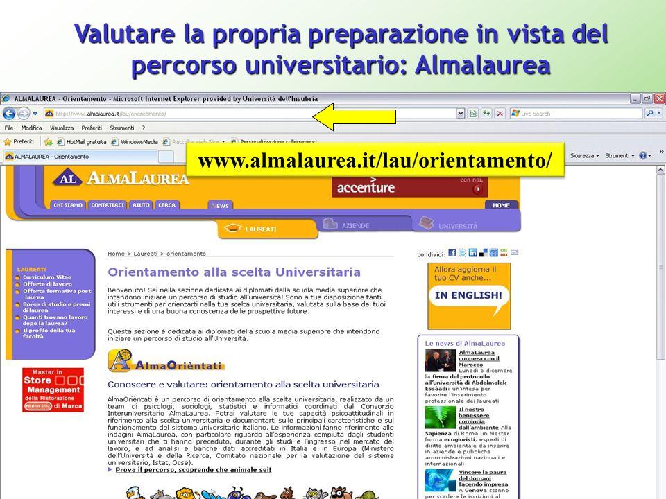 Valutare la propria preparazione in vista del percorso universitario: Almalaurea