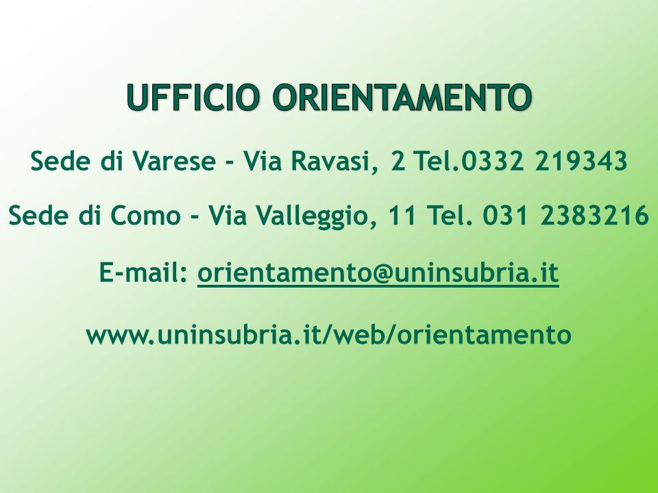 UFFICIO ORIENTAMENTO Sede di Varese - Via Ravasi, 2 Tel.0332 219343