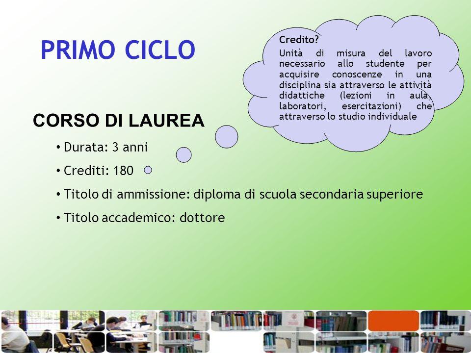 PRIMO CICLO CORSO DI LAUREA Durata: 3 anni Crediti: 180