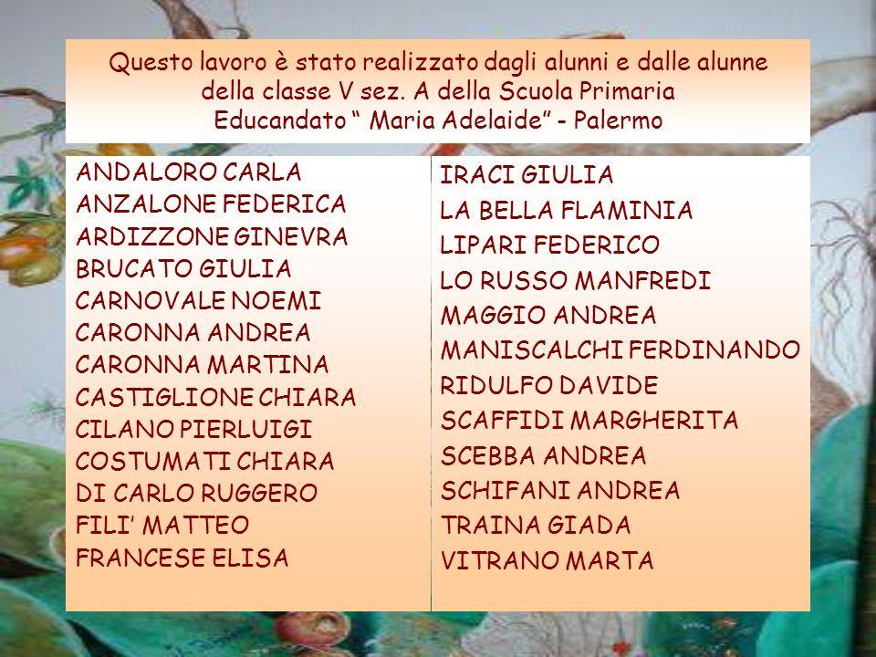 Questo lavoro è stato realizzato dagli alunni e dalle alunne della classe V sez. A della Scuola Primaria Educandato Maria Adelaide - Palermo