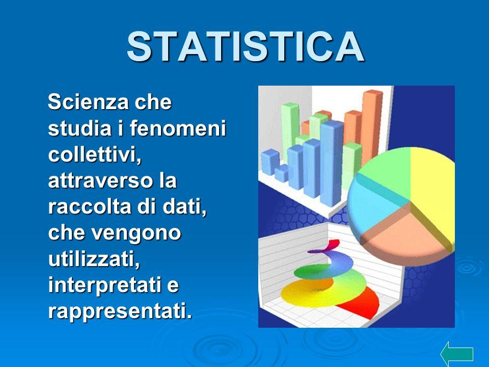 STATISTICA Scienza che studia i fenomeni collettivi, attraverso la raccolta di dati, che vengono utilizzati, interpretati e rappresentati.