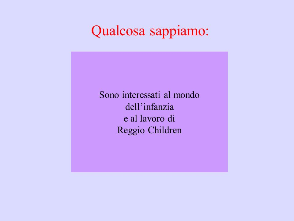 Sono interessati al mondo dell'infanzia e al lavoro di Reggio Children