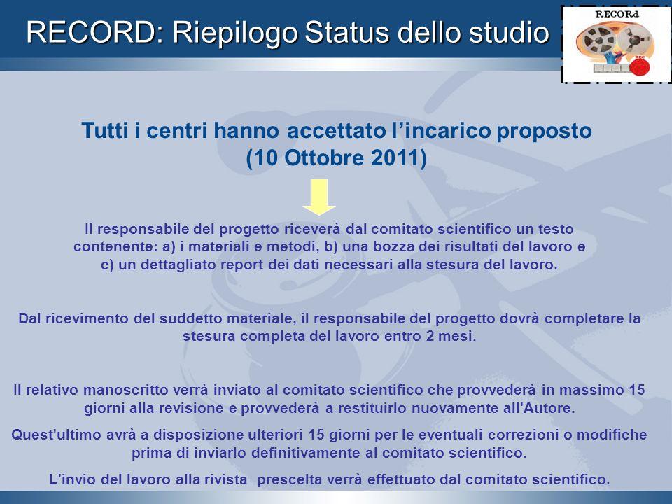 Tutti i centri hanno accettato l'incarico proposto (10 Ottobre 2011)