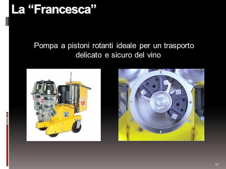 La Francesca Pompa a pistoni rotanti ideale per un trasporto delicato e sicuro del vino