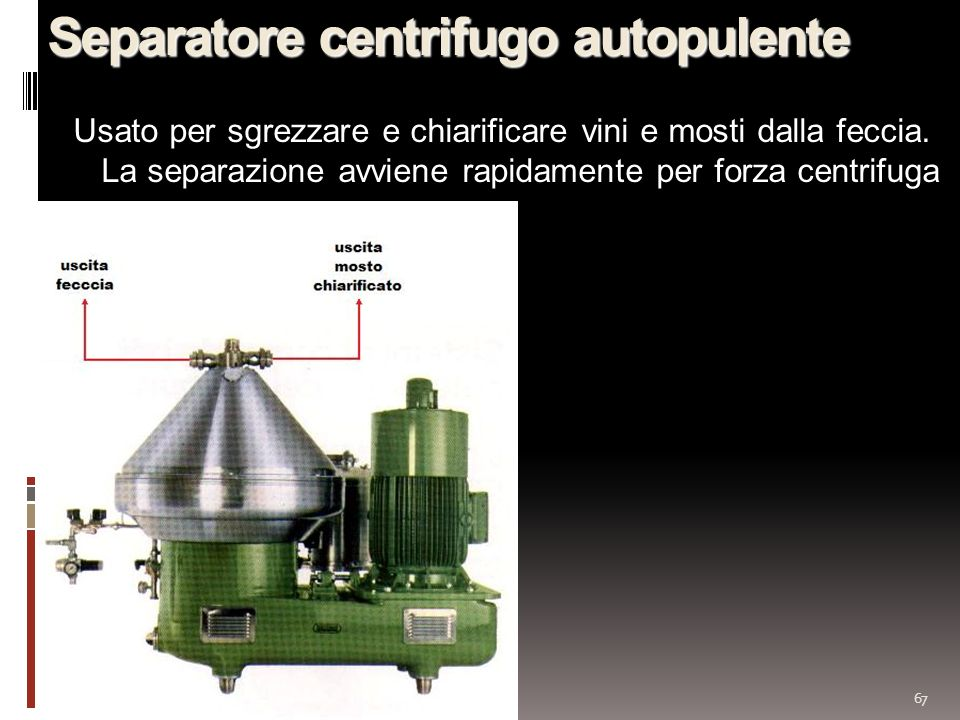Separatore centrifugo autopulente