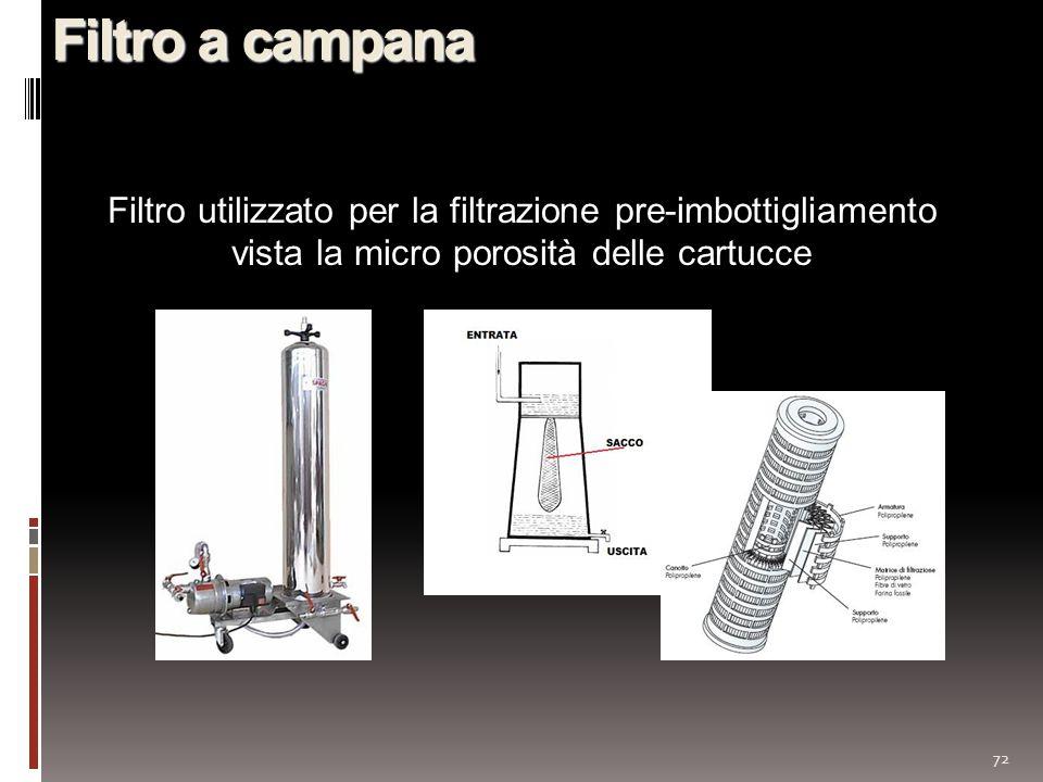 Filtro a campana Filtro utilizzato per la filtrazione pre-imbottigliamento vista la micro porosità delle cartucce.