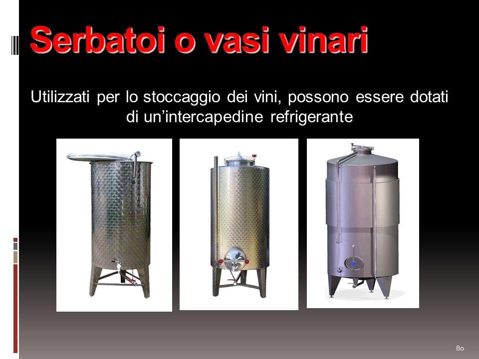 Serbatoi o vasi vinari Utilizzati per lo stoccaggio dei vini, possono essere dotati di un'intercapedine refrigerante.