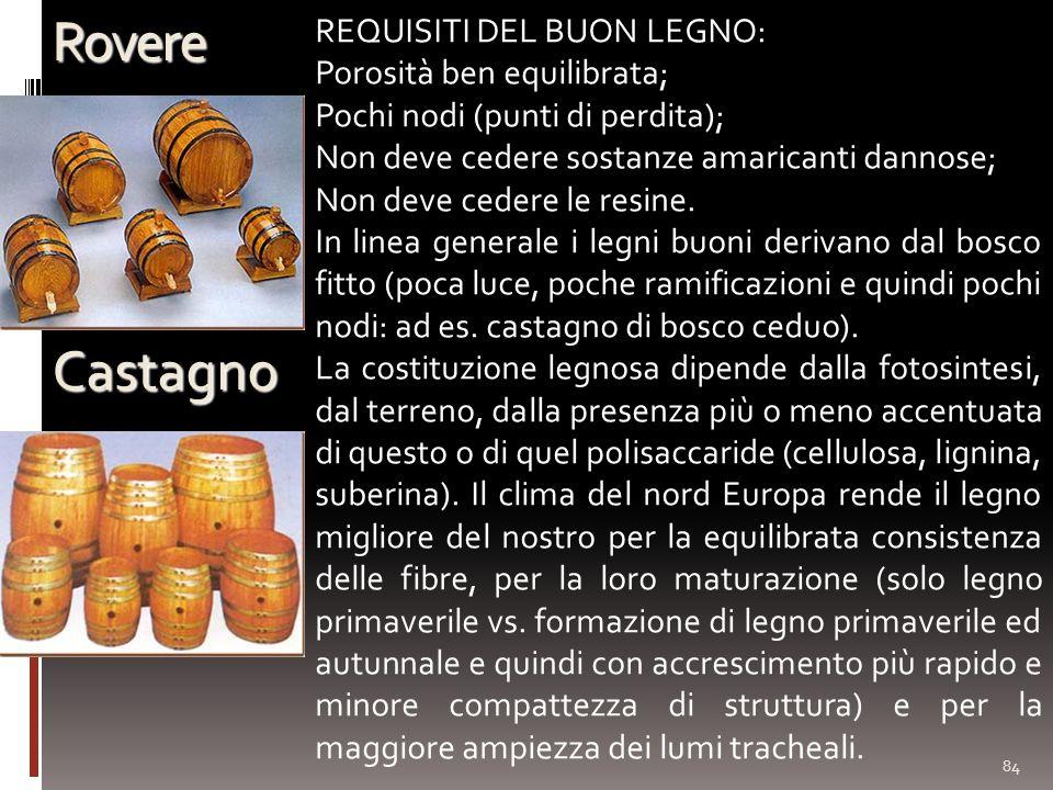 Rovere Castagno REQUISITI DEL BUON LEGNO: Porosità ben equilibrata;