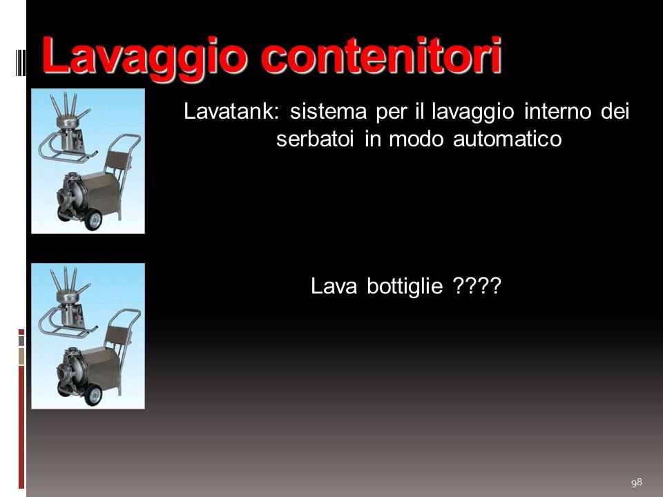 Lavaggio contenitori Lavatank: sistema per il lavaggio interno dei serbatoi in modo automatico.