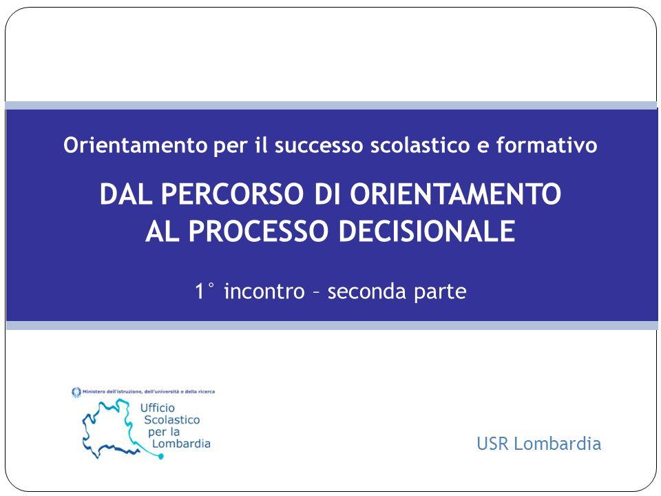 DAL PERCORSO DI ORIENTAMENTO AL PROCESSO DECISIONALE