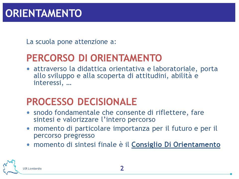 ORIENTAMENTO PERCORSO DI ORIENTAMENTO PROCESSO DECISIONALE