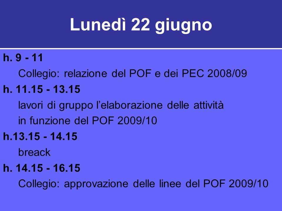 Lunedì 22 giugno h. 9 - 11. Collegio: relazione del POF e dei PEC 2008/09. h. 11.15 - 13.15. lavori di gruppo l'elaborazione delle attività.