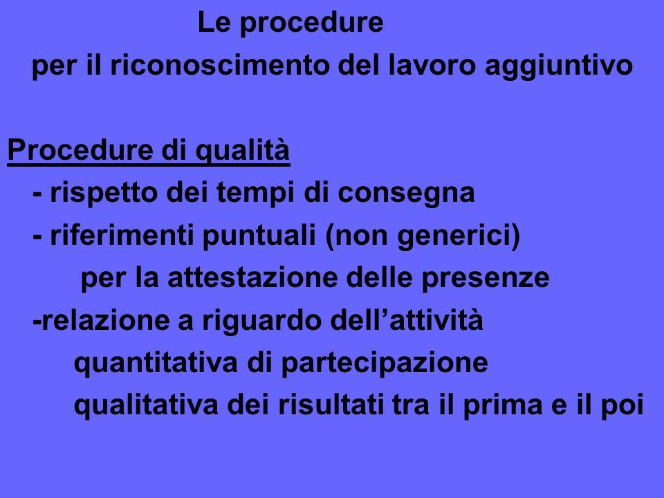 Le procedure per il riconoscimento del lavoro aggiuntivo. Procedure di qualità. - rispetto dei tempi di consegna.