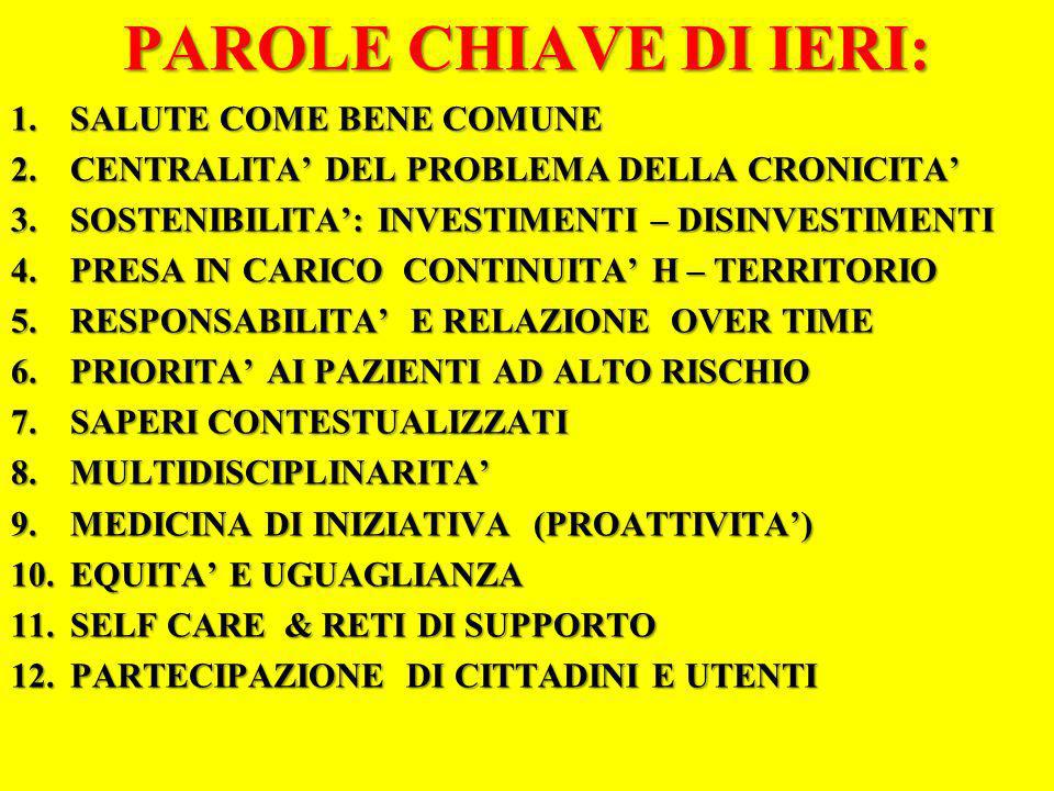 PAROLE CHIAVE DI IERI: SALUTE COME BENE COMUNE