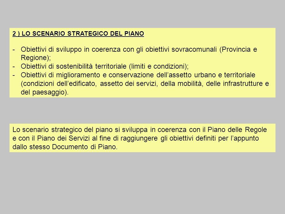 Obiettivi di sostenibilità territoriale (limiti e condizioni);