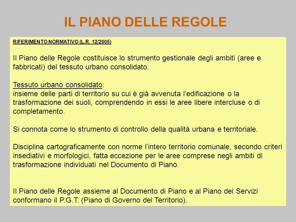 IL PIANO DELLE REGOLERIFERIMENTO NORMATIVO (L.R. 12/2005)
