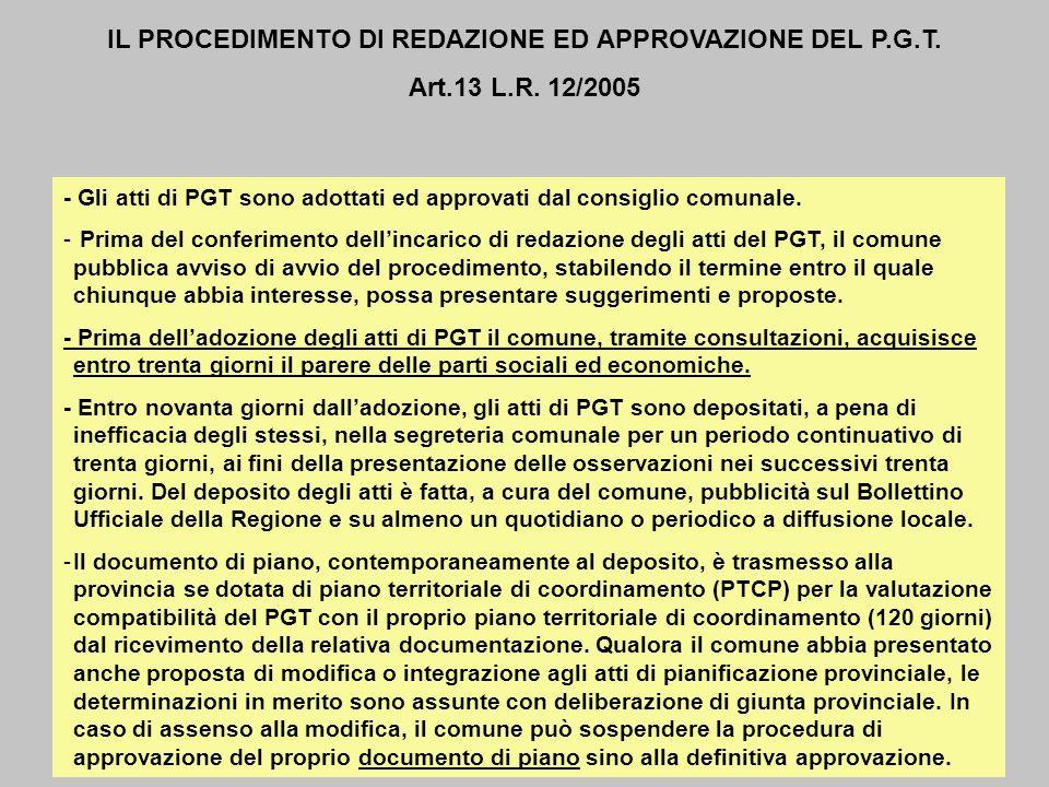 IL PROCEDIMENTO DI REDAZIONE ED APPROVAZIONE DEL P.G.T.