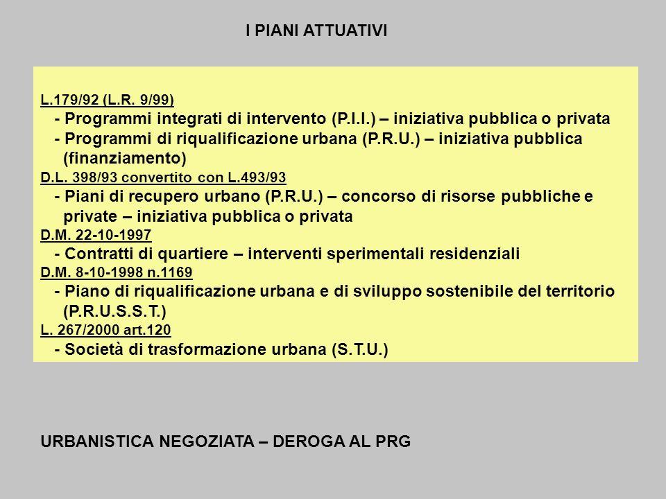 - Programmi di riqualificazione urbana (P.R.U.) – iniziativa pubblica