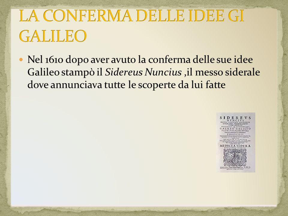 LA CONFERMA DELLE IDEE GI GALILEO