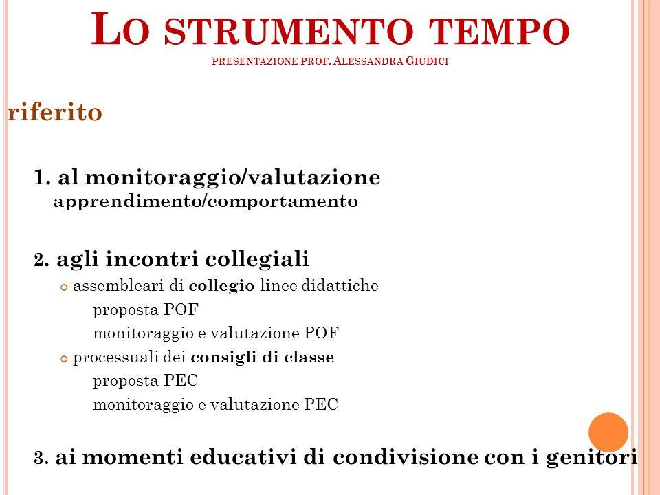 Lo strumento tempo presentazione prof. Alessandra Giudici