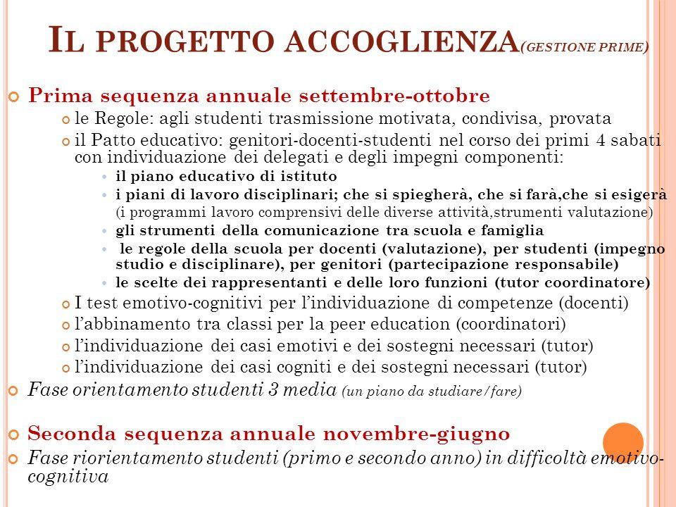 Il progetto accoglienza(gestione prime)