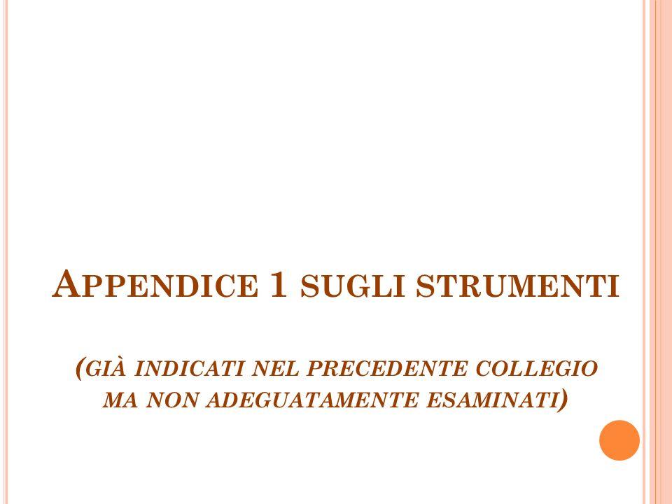 Appendice 1 sugli strumenti (già indicati nel precedente collegio ma non adeguatamente esaminati)