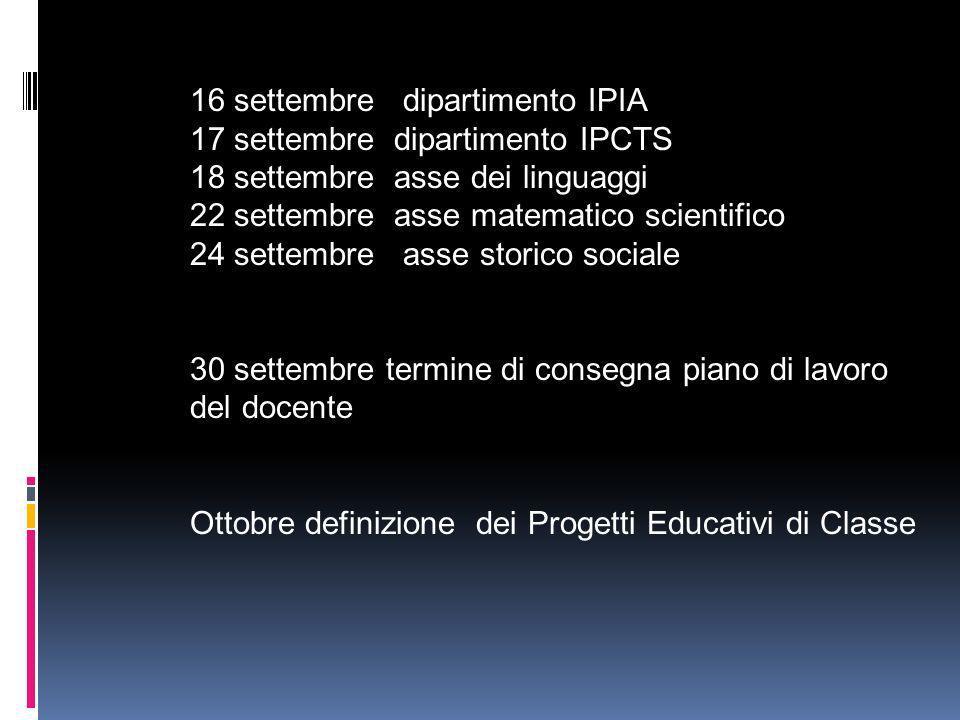 16 settembre dipartimento IPIA