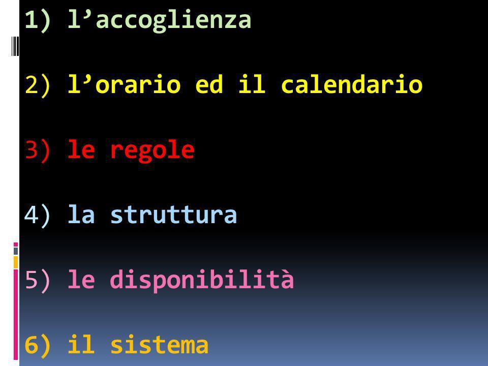 1) l'accoglienza 2) l'orario ed il calendario 3) le regole 4) la struttura 5) le disponibilità 6) il sistema