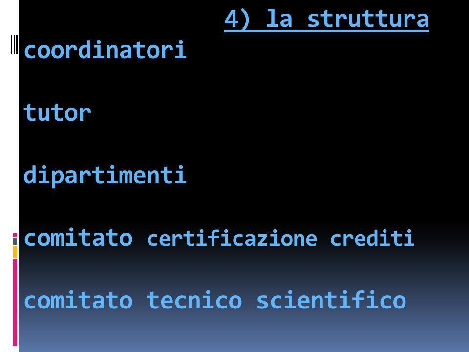 4) la struttura coordinatori tutor dipartimenti comitato certificazione crediti comitato tecnico scientifico
