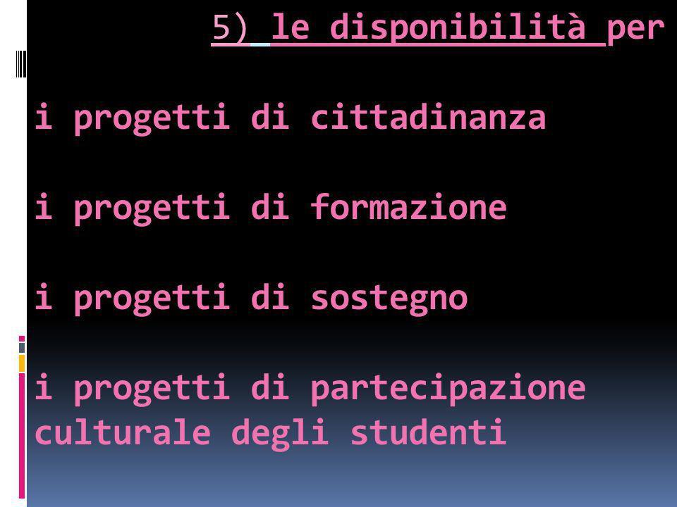 5) le disponibilità per i progetti di cittadinanza i progetti di formazione i progetti di sostegno i progetti di partecipazione culturale degli studenti
