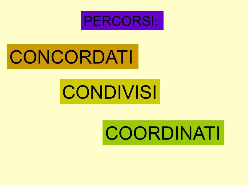 PERCORSI: CONCORDATI CONDIVISI COORDINATI