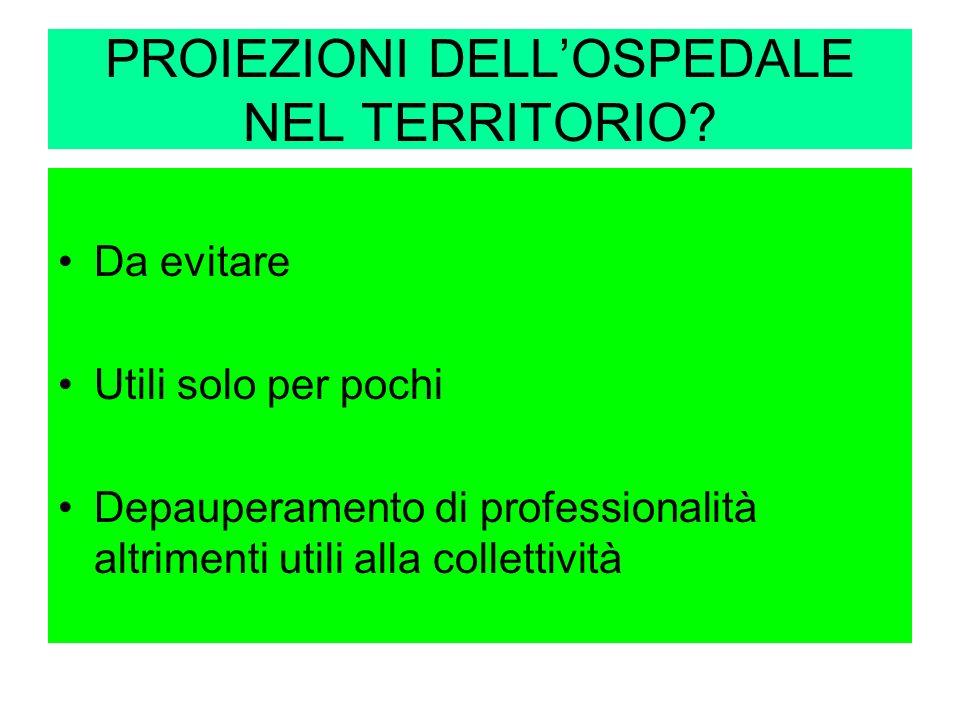 PROIEZIONI DELL'OSPEDALE NEL TERRITORIO