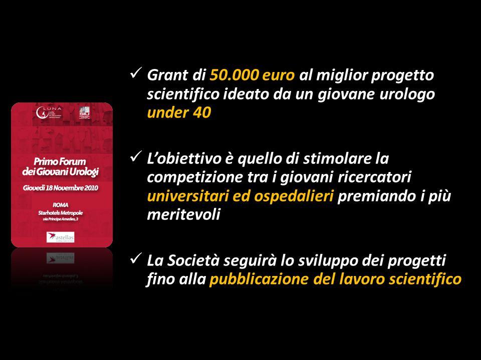 Grant di 50.000 euro al miglior progetto scientifico ideato da un giovane urologo under 40