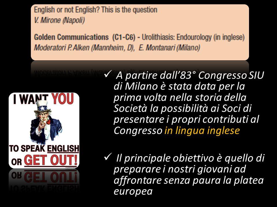 A partire dall'83° Congresso SIU di Milano è stata data per la prima volta nella storia della Società la possibilità ai Soci di presentare i propri contributi al Congresso in lingua inglese