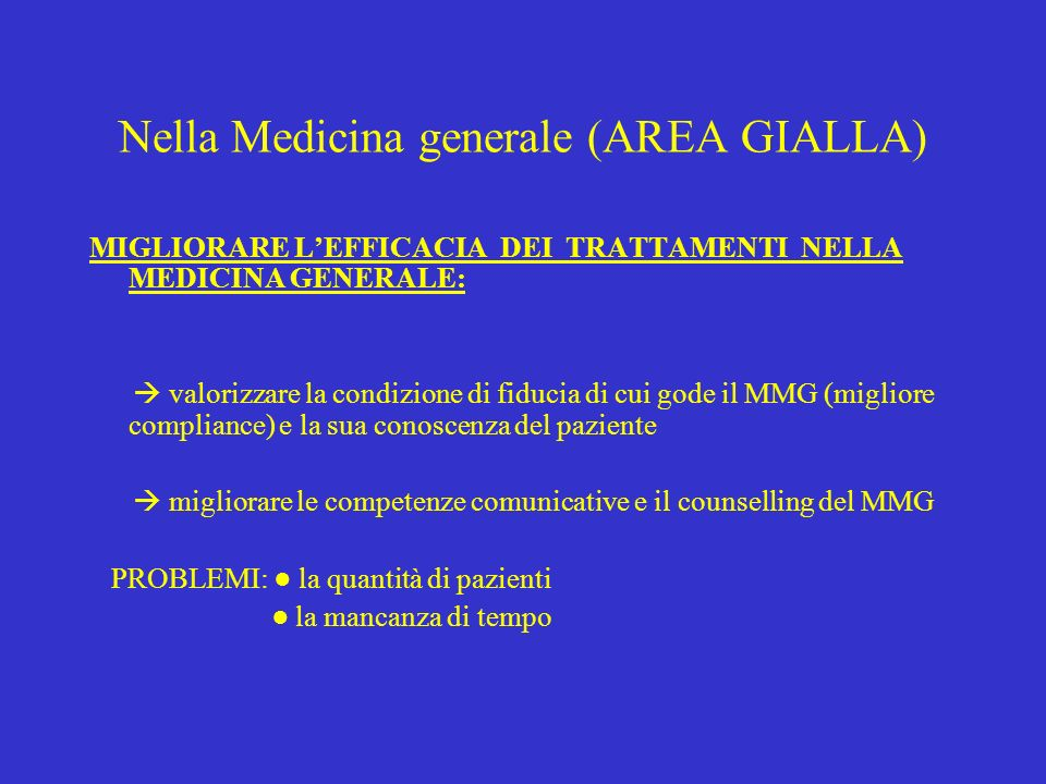 Nella Medicina generale (AREA GIALLA)