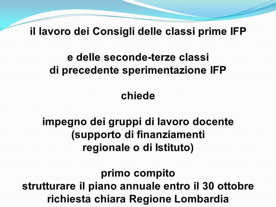 il lavoro dei Consigli delle classi prime IFP