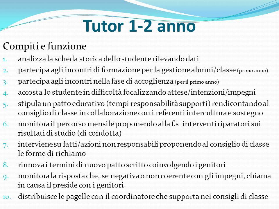 Tutor 1-2 anno Compiti e funzione