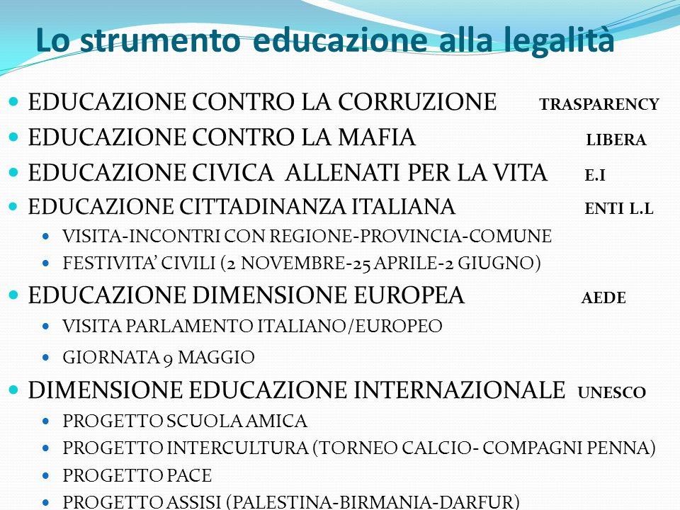 Lo strumento educazione alla legalità