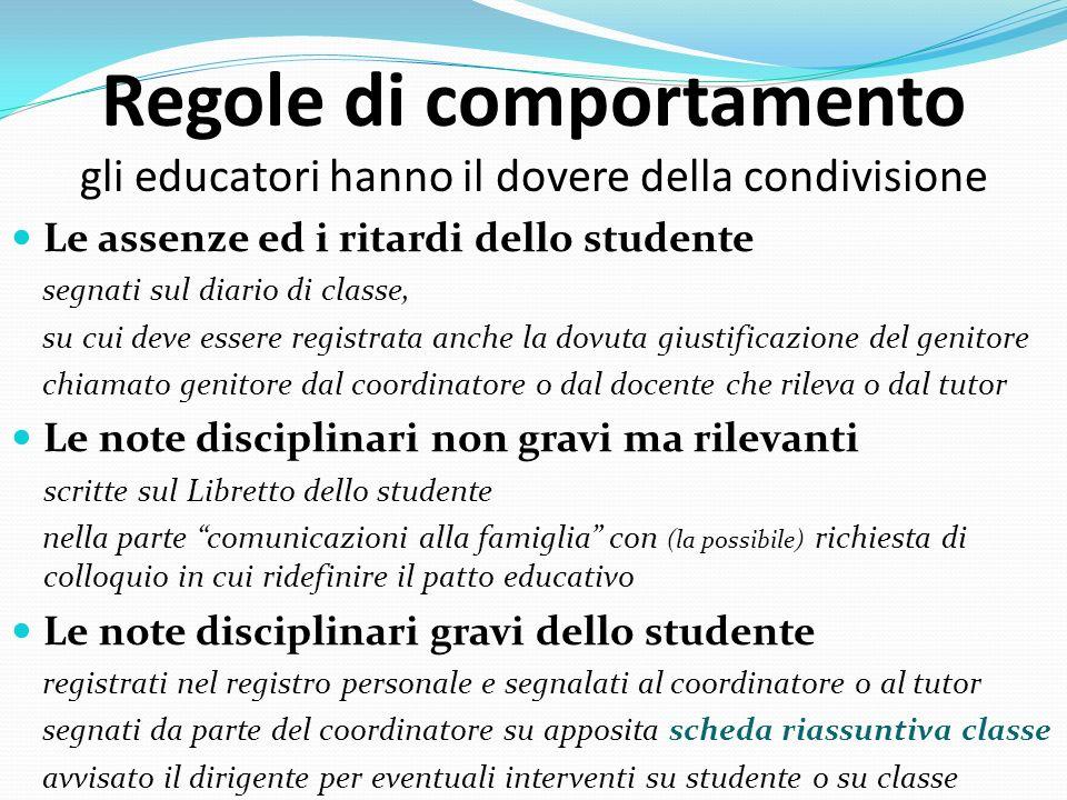 Regole di comportamento gli educatori hanno il dovere della condivisione