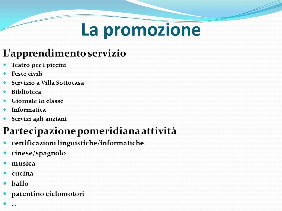 La promozione L'apprendimento servizio